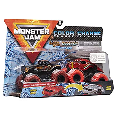 Monster Jam 2020 Color Change 1:64 Scale 2-Pack, Captain's Curse and Crushstation: Toys & Games