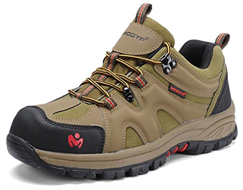 MODYF Mens Work Safety Shoes, Steel Toe Outdoor Puncture Proof Footwear Industrial and Construction Shoe Army Green Mesh