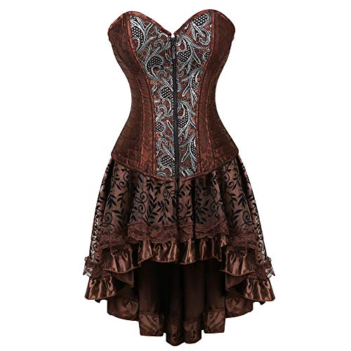 - Grebrafan Steampunk Gothic Steel Boned Vintage Corset Skirt Set (US(20-22) 6XL, Brown)