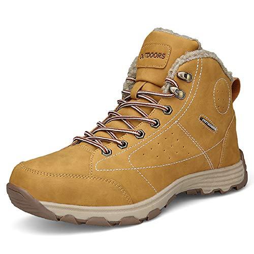 LILY999 Uomo Stivali da Escursionismo Impermeabili Scarpe da Trekking Arrampicata Stivali da Neve All'aperto Inverno Caldo Pelliccia Sneakers Cachi