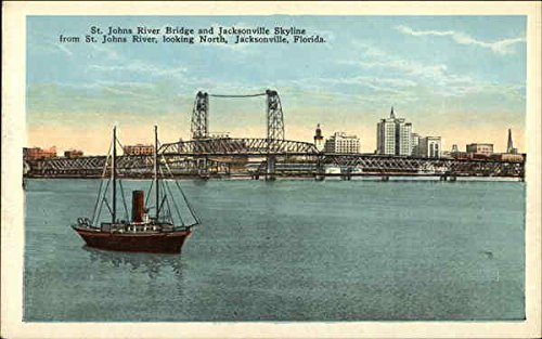 St. John's River Bridge and Jacksonville Skyline Jacksonville, Florida Original Vintage - Johns Florida Jacksonville St