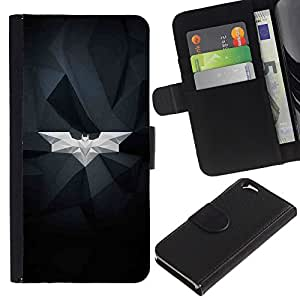 KingStore / Leather Etui en cuir / Apple Iphone 6 / Estructura Bat blanca geométrica Arte Moderno