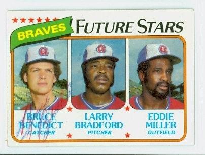Bruce Benedict AUTOGRAPH 1980 Topps #675 Atlanta (Atlanta Braves Clubhouse)