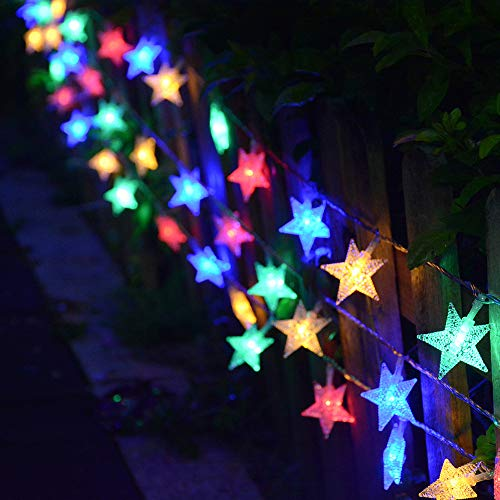 Homeleo 25.7 Ft 50 Led Color Changing String Lights, Battery Powered Star Fairy Lights with Timer Remote, Indoor Outdoor Christmas Lights for Bedroom Patio Umbrella Balcony Gabezo Decor(Multicolor)