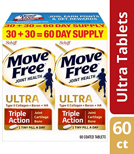 Type II Collagen, Boron & HA Ultra Triple Action Tablets, Move Free (60 count in a value pack), Joint Health Supplement With Just 1 Tiny Pill Per Day To Promote ()