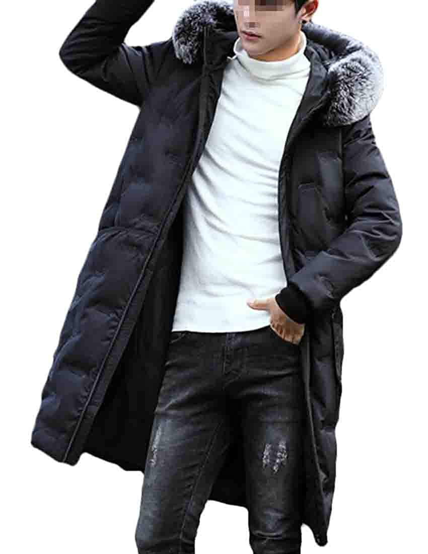 Frieed Men Faux Fur Quilted Hooded Stand Collar Winter Long Down Jacket Coat