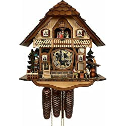 Anton Schneider Cuckoo Clock Black Forest house with moving beer drinkers and mill wheel