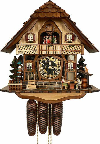 Beer Drinker Cuckoo Clock - Anton Schneider Cuckoo Clock Black Forest house with moving beer drinkers and mill wheel