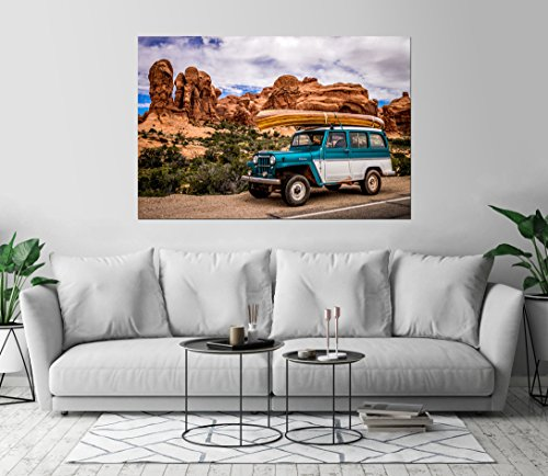 Willys Jeep Wagon - Kraska 1962 Willys Overland Jeep Wagon Car Art Print Wall Decor Unstretched - Unframed Canvas 36 x 54 - XL