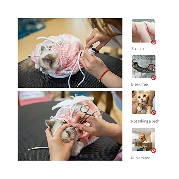PETCUTE Cat Grooming Bag Cat Washing Bath Bag Mesh Bag for Cat Shower cat Restraint Bag Scratch-Resistant Click on image for further info. 6