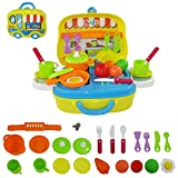 Portable Kitchen Toy Set with Utensils, Pans, Pots, Fruit, and more