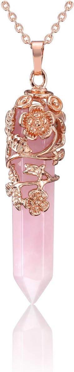 JOVIVI Rose Gold Plated Rose Flower Wrapped Natural Rose Quartz Healing Crystal Necklace Hexagonal Prism Pointed Quartz Yoga Energy Chakra Gemstone Pendant Pendulum Reiki Jewelry