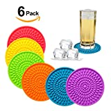 Silicone Drink Coasters Set of 6-Deep Tray,Large 4.3 inches Size Protect Table Desk From Drinks, Beverage,Water or Alcohol Like Whiskey, Beer, Wine,Tropical Cocktails by Kindga (Rainbow-Oval)