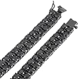 Black Plated 2-Row Iced Out Hip Hop Chain with Black Cubic Zirconia, 36'' + Jewelry Polishing Cloth