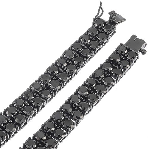 Black Plated 2-Row Iced Out Hip Hop Chain with Black Cubic Zirconia, 36'' + Jewelry Polishing Cloth by The Bling Factory