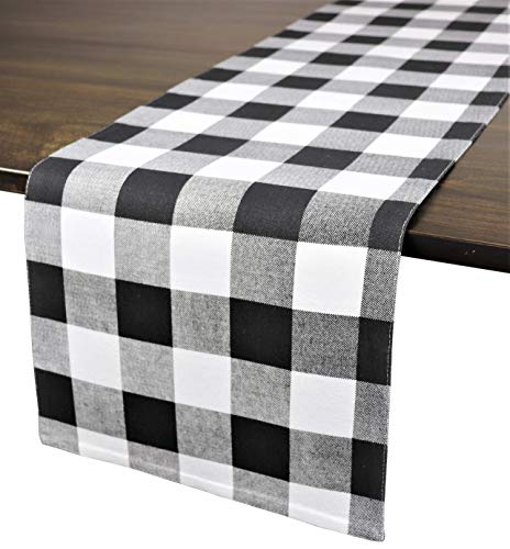 Crabtree Collection Deluxe Cotton Table Linens, Bright Colors for Kitchens and Dining Rooms – (Black Buffalo Check 12×72 Runner)