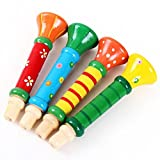 Dreaman Multi-Color Baby kids Wooden Horn Hooter Trumpet Instruments Music Toys
