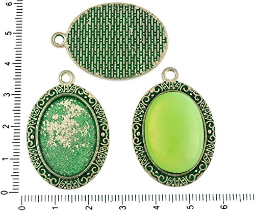 Oval Turquoise Pendant - 2pcs Czech Green Turquoise Patina Antique Silver Tone Large Oval Pendant Bezel Cabochon Setting Blank Tray Metal Base Fit Cameo 18mm x 25mm