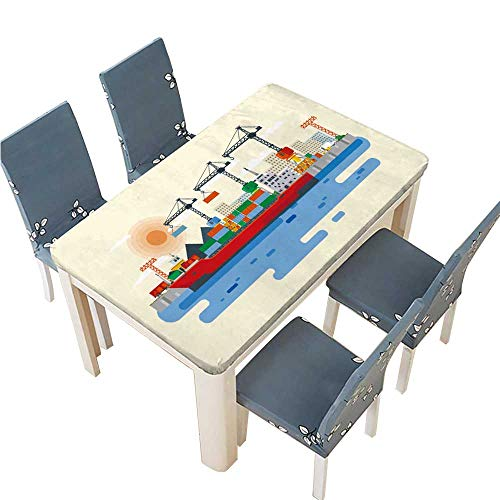 PINAFORE Tablecloth Flat Style Illustration Loading of Cargo Ship in River Port Carriage Table Top Cover W37.5 x L76.5 INCH (Elastic Edge) ()