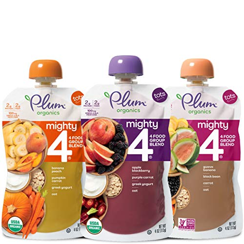 Plum Organics Mighty 4, Organic Toddler Food, Variety Pack, 4 ounce pouch (Pack of 18) (Packaging May Vary)