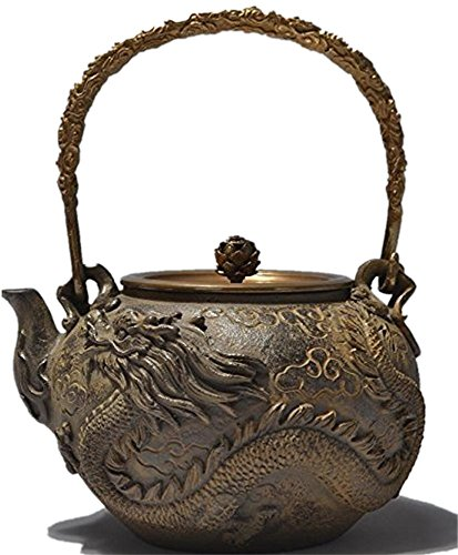 RUIKA Japanese tetsubin Cast Iron Teapot Dragon and phoenix pattern Kettle 1400ml 48 Ounce (Tetsubin Cast Iron)
