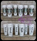 Starbucks Bridal Party 16 ounce Reusable Plastic Coffee Cups with Lids