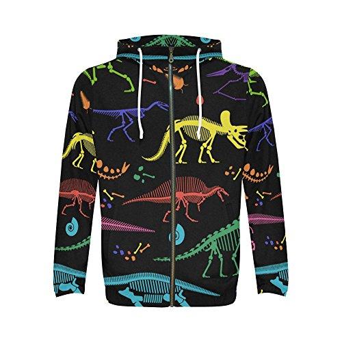 INTERESTPRINT Custom Colorful Skeletons of Dinosaurs Men's Full-Zip Zipper Hoodies Sweatshirt 2XL]()
