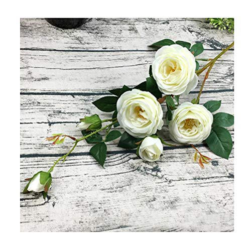 6 Heads Artificial Roses Silk Flowers Artificial Flowers for Wedding Home Party Decorations Table Centerpiece 7 Colors,White ()