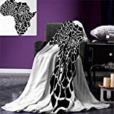 Anniutwo Safari Throw Blanket Illustration Africa Continent Map as Animal Skin Wilderness Species Print Warm Microfiber All Season Blanket Bed Couch 50''x30'' Black White