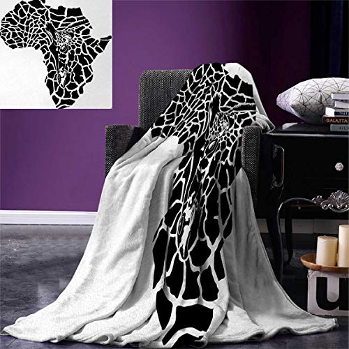 Anniutwo Safari Throw Blanket Illustration Africa Continent Map as Animal Skin Wilderness Species Print Warm Microfiber All Season Blanket Bed Couch 50''x30'' Black White by Anniutwo