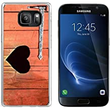 Luxlady Samsung Galaxy S7 Clear case Soft TPU Rubber Silicone IMAGE ID: 42843465 Outdoor toilet door with carved heart below iron hinge Old traditional marking for outhous