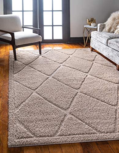 Unique Loom Trellis Shag Collection Plush Geometric Modern Moroccan Lattice Beige Area Rug 9' 0 x 12' 0