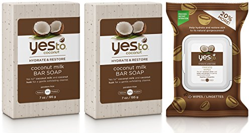Banana Coconut Oil (Yes to Coconut Milk Bar Soap (Pack of 2) and Cleansing Wipes Bundle with Coconut Oil, Shea Butter, and Banana Fruit Extract, 7 oz. and 30 wipe pack)