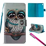 Xperia E5 Case, Firefish [Kickstand] Flip Folio Wallet Cover Shock Resistance Protective Shell with Cards Slots Magnetic Closure for Sony Xperia E5-Owl