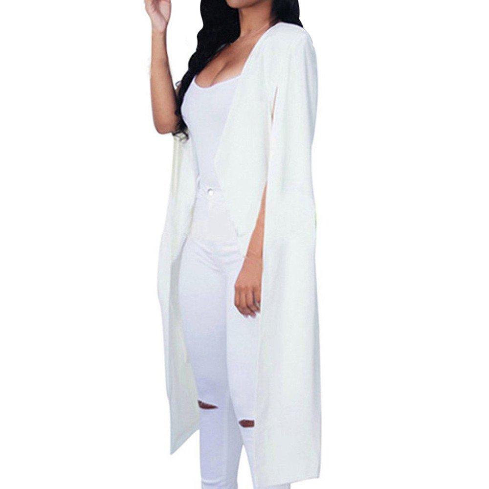 Bekleidung Tops Loveso Sommerkleider Herbst Kleidung Damen Mode Einfarbig Lose lange Mantel Blazer Cape Mantel Strickjacke Jacke Outwear Cardigan ((Größe):38 (L), Weiß)