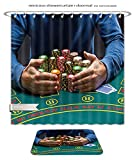 Minicoso Bath Two Piece Suit: Shower Curtains and Bath Rugs Poker Player Taking Poker Chips After Winning Shower Curtain and Doormat Set