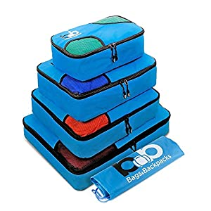 5 Set Travel Packing Cubes 4 Luggage Packing Organizers with Laundry Bag (Blue)