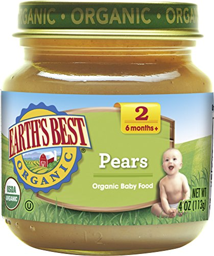 Earths Best Pear (Earth's Best Organic Stage 2 Baby Food, Pears, 4 Ounce Jars, Pack of 12)