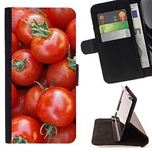 For Apple Iphone 5C - Fruit Macro Cherry Tomatoes /Funda de piel cubierta de la carpeta Foilo con cierre magn???¡¯????tico/ - Super Marley Shop -