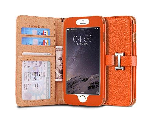 iPhone 6s (4.7) Case, [Snow Fairy] iPhone 6 (4.7) Flip Case [Wristlet Series][Wallet] Cash Pocket - Wrist Strap PU Leather Case for iPhone 6 (4.7) - Special Design ID Slot Orange