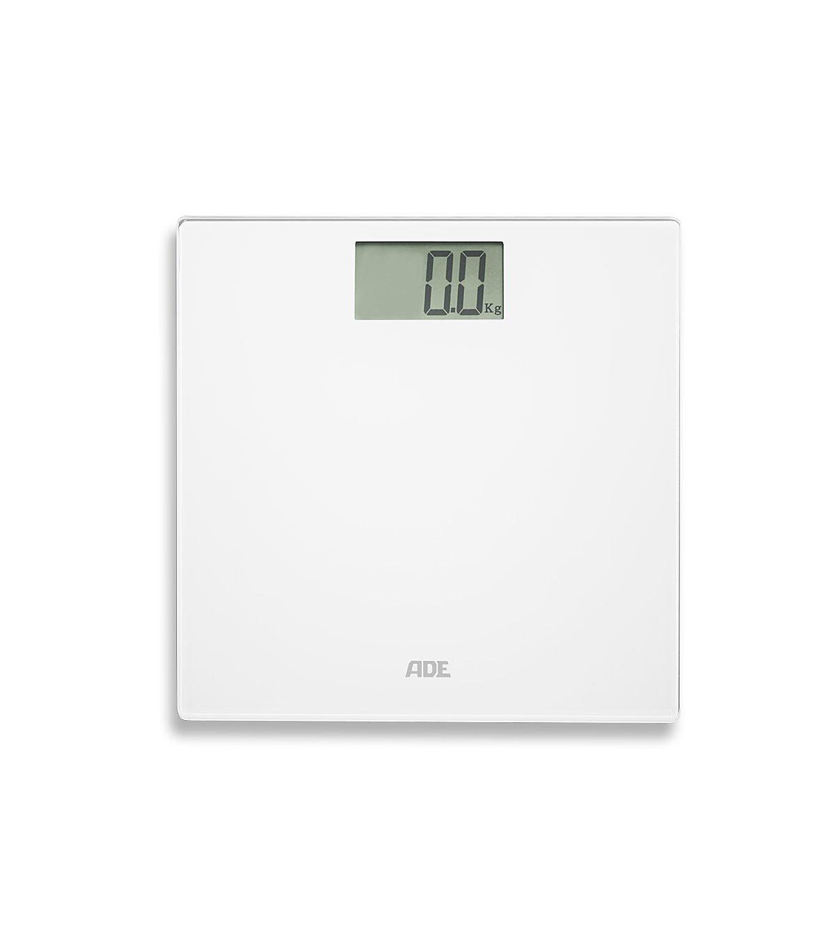 ADE BE1707 Bilancia pesapersone digitale. Superficie igienica ed elegante. Precisa fino a 180 kg. Batterie incl. Bianco