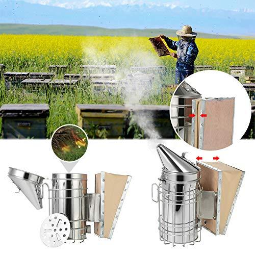CactusAngui Fumador ahumador ahumado de acero inoxidable ahumado y apicultor de abeja impulsor herramienta profesional de...