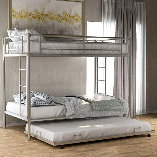 DERCASS Easy Assembly Classic Bunk Beds Metal Twin Over Twin Bunk Bed