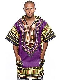 Mens African Swag Dashiki Loose Traditional Long Hoodie Top W/ Hood