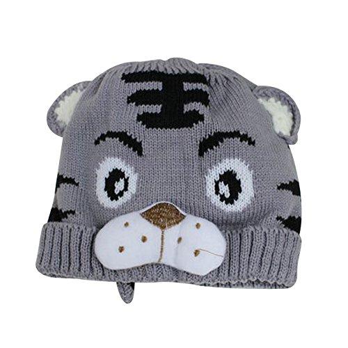 帽子,SODIAL(R) 1x小さい女の子 男の子 幼児のかぎ針編みのニット 可愛い虎の帽子 キャップ ビーニーボンネット 灰色 B01CV8CA4M