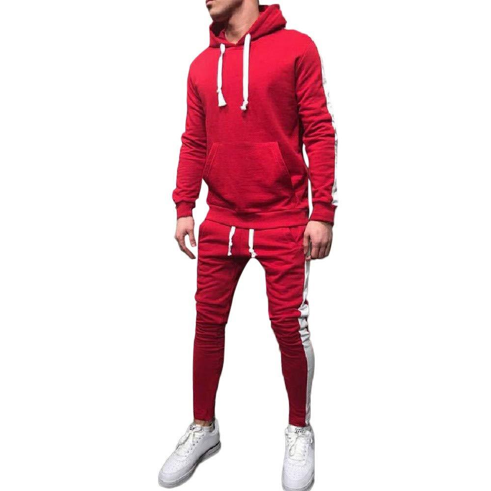WaiiMak Men's Patchwork Hoodie, Autumn Winter Sweatshirt Top Pants Sets Suit Tracksuit