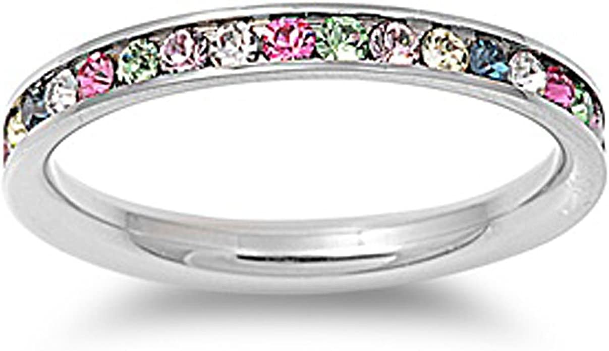 This is an image of Stainless Steel Eternity Multi-Color Cz Wedding Band Ring 48mm