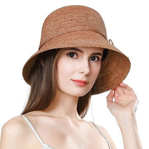 Raffia Beach Hat - Jeff & Aimy Womens Packable Floppy 100% Raffia Straw Beach Sun Hat Floppy with UV Protection Wide Brim Neck Cord Foldable Panama Fedora Travel Sunhat UPF 50 Orange 55-58CM