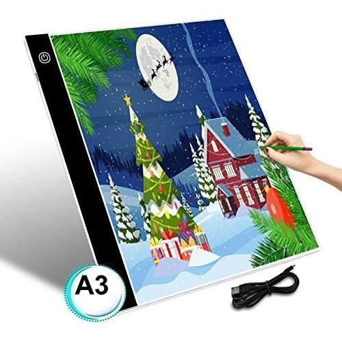 chollos oferta descuentos barato GEMITTO A3 Mesa de Luz de Dibujo LED Tableta de Luz de Iluminación de la Caja con Brillo Ajustable y Panel Táctil Inteligente para Artistas Dibujo Infantil Pintura Arquitectónica 40x33 5x0 5cm