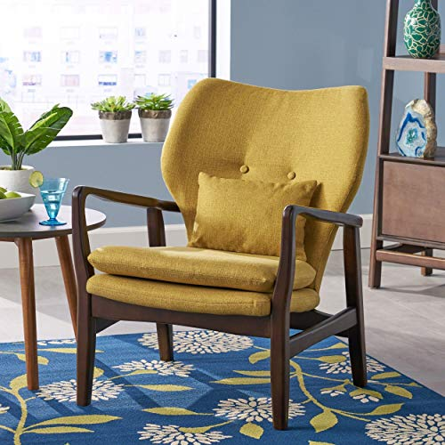 Christopher Knight Home 304780 Ventura Mid Century Modern Fabric Club Chair, Mustard